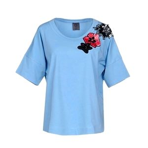 Blue T-shirt (Italy)Cotton with flowers decoration
